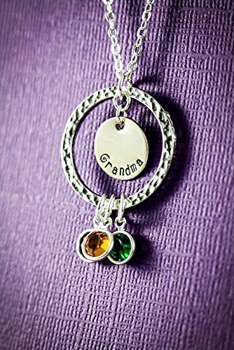 Personalized Eternity Necklace - DII - Grandma Gift - Christmas - Children Grandkids - Handstamped Handmade Jewelry-1, 1/2 Inch 25.4, 12MM Discs-Choose Birthstone Colors-Customize Name