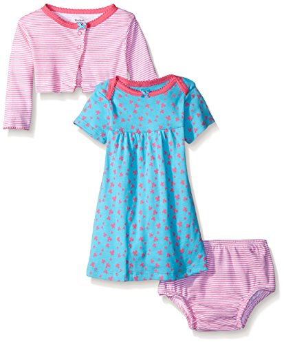 Gerber Baby Three-Piece Cardigan, Dress and Diaper Cover Set, Butterflies, 6-9 Months