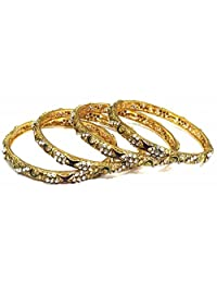 Shingar Jewellery Ksvk Jewels Antique Gold Plated Polki Kundan Bangles Set In 2.6 Size For Women (8215-m-2.6-1...