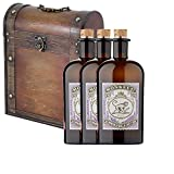 3 x Monkey 47 Dry Gin 50cl Bottles in Antique Style Gift Box with Hand Crafted Gifts2Drink Tag