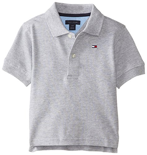 Tommy Hilfiger Baby-Boys Infant Short Sleeve Ivy Polo, Grey Heather, 24 Months front-837458