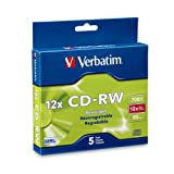 Verbatim 95157 700 MB 4x-12x 80 Minute Silver Rewritable Disc CD-RW, 5-Disc Slim Case