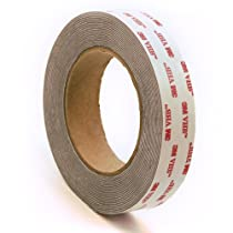 3M 4941 Very High Bond Conformable Acrylic Foam Tape, Double-Sided VHB Acrylic Adhesive, Liner, 45 mil Thick, Dark Grey, 1