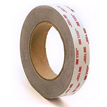 "3M 4941 Very High Bond Conformable Acrylic Foam Tape, Double-Sided VHB Acrylic Adhesive, Liner, 45 mil Thick, Dark Grey, 1"" Width, 5 Yard Roll"