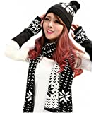 Womens Chenille Snowflake Print Hat Gloves and Scarf Winter Set