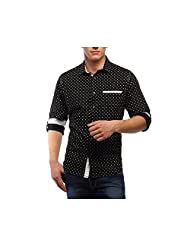 Yolo - You Only Live Once Black Butta Printed Men's Slim Fit Cotton Shirt