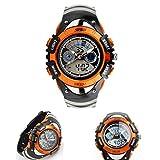 Aupooe キッズ腕時計 子供用 多機能ウォッチ 腕時計 アナデジ表示 日付曜日表示 LED クロノグラフ 防水 スポーツウォッチ ガールズ/ボーイズウォッチ シリコン 子供のプレゼント (オレンジ)