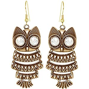 Nickel Free Articulated Owl Earrings, Swarovski Crystal, USA!, in Antique Brass