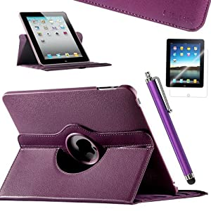 ULAK 360 Rotating PU Leather Folio Stand Case Cover for Apple iPad 1 1st Generation with Stylus and Screen Protector-Purple