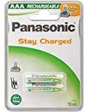 Panasonic rechargeable battery P03P AAA 750 mAh, NiMH, pack of 2 Blister - Mikro, ideal for DECT Geräte, P03P/2B