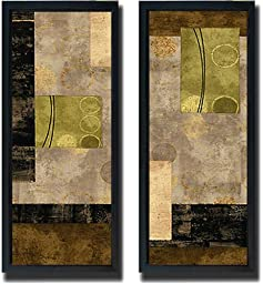 Elevate I & II by Brent Nelson 2-pc Satin-Black Framed Canvas Set (Ready to Hang)