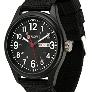 Military Royale Men's Black Dial Nylon Band Swiss Design Date Army Watch MR051