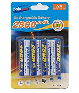 4 x Pack AA Palo Palocell Rechargeable Rechargable Batteries NIMH 2800mAh very high capacity ideal for Cordless Telephones, MP3 Players, Digital Cameras, Calculators, Mobile Devices, Toy Games , Torches, Handheld Products and most Electrical Items