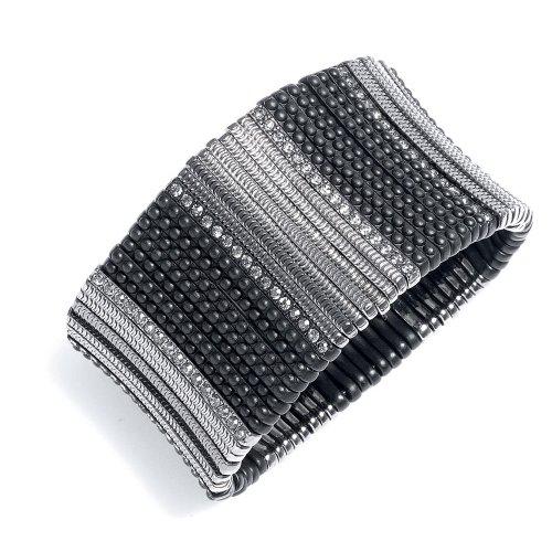 Multi Textured Jet Black Stretch Bracelet