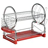 Chrome 2 Tier Dish Drainer with Red Removable Drip Tray