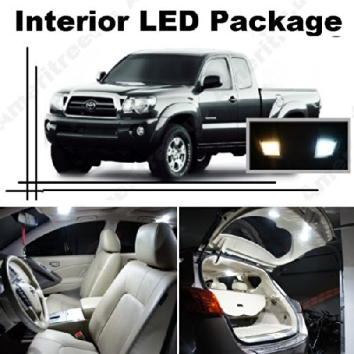 Ameritree Xenon White Led Lights Interior Package + White Led License Plate Kit For Toyota Tacoma 2007-2014 (5 Pcs)