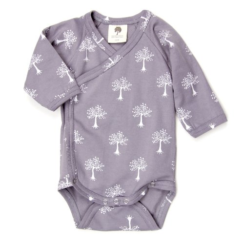 Kate Quinn Organic Long Sleeve Kimono Bodysuit, Neutral Essentials, 12-18M (Tree)