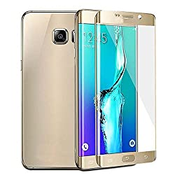 Exoic81 Full Covered Curved Edges Tempered Glass Screen Protectors For Samsung Galaxy S7 Edge -GOLDEN