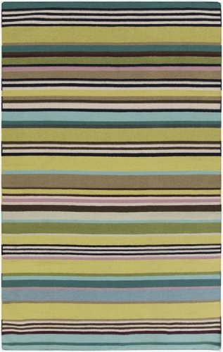 5' x 8' Rayas Del Mar Teal Blue and Sandy Brown Hand Woven Wool Area Throw Rug