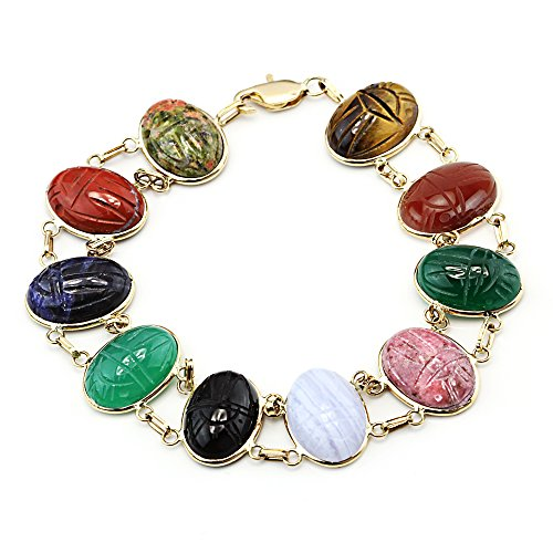 14k Yellow Gold Scarab Bracelet Double Link with Oval Gemstones 7.25 Inches