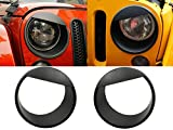 Black Angry Bird Headlight Cover Clip-in Bezels for 2007-2018 Jeep Wrangler & Wrangler Unlimited JK - Pair