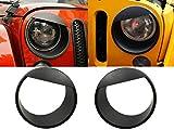 Hooke Road Black Angry Bird Headlight Cover Clip-in Bezels for 2007-2015 Jeep Wrangler & Wrangler Unlimited JK - Pair