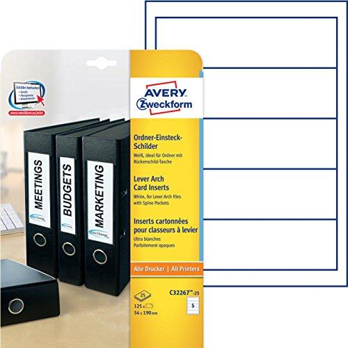 Avery Zweckform C32267-25 Ordner-Einsteck-Schilder (A4, 125 Stück, 54 x 190 mm) 25 Blatt weiß