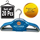 ★Best Seller★ Mighty Hanger™ Premium Clothes Hanger for Baby, Kids or Adults - Extra Strong, Ultra Thin 1/7(4mm), Space Saver, Fully Protect Against Unwanted Dent - Luxuriously Flocked - Best All in One Flocked Hanger for Your Finest Clothes, Ties, Scarves, Towels, Belts, Skirts - Baby Blue Color, Bulk Set of 20