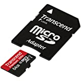 Transcend 64GB MicroSDXC Class10 UHS-1 Memory Card with Adapter 45 MB/s (TS64GUSDU1)