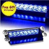 DIYAH 8 LED Warning Caution Car Van Truck Emergency Strobe Light Lamp For Interior Roof Dash Windshield (Blue)