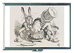 Alice in Wonderland Mad Hatter Rabbit Stainless Steel ID or Cigarettes Case (King Size or 100mm)