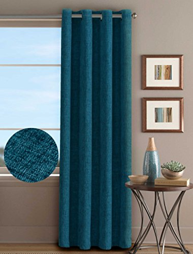 H.Versailtex Clearance Curtains Room Darkening Thermal Insulated Textured Linen Finishing Living Room Grommet Panels,52 by 84 - Inch (1 Panel) - Heathered in Ink Blue (Bright Green Thermal Curtains compare prices)
