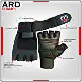 Leather Weight Lifting Gloves Long Wrist Wrap Gloves Power Lifting Lifter PADDED Palm Exercise Fitness Gloves Strengthen Gloves Home Gym