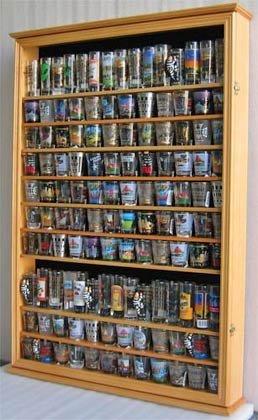 Large 144 Shot Glass Shooter Display Case Rack Holder Cabinet, Holds Hard Rack, Jack Daniel - OAK Finish (Rock Display Glass compare prices)