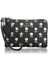 Coach 52926 Black Badlands Floral Crossgrain Leather Wristlet