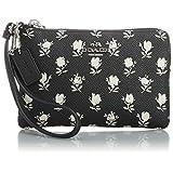 Coach 52926 Black Badlands Floral Crossgrain Leather Wristlet
