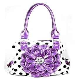 Purple Polka Dot Twist Clutch Flower Rhinestone Fashion Handbag