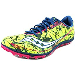 Saucony Women\'s Shay XC4 Spike Cross Country Spike Shoe,Citron/Navy/Pink,9 M US