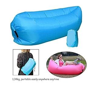 ponffear® Fashion Creative gonflable chaise longue de plage Sacs de couchage d'extérieur intérieur Air Lits de compression air Bag Hangout Pouf Air Portable Chaise Matelas Lit cadeau Bleu Bleu
