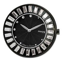 Moog Blk Pol. Stnlss Stl/Blk Dial/Crystal Baguette Bezel Watch Only