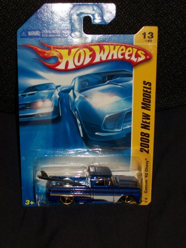 Hot Wheels 2008 013 New Models Custom '62 Chevy Pickup Blue with Surfboard in Bed 1:64 Scale