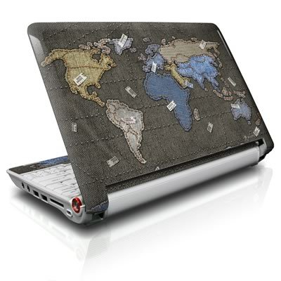 Jean Map Draw up Protective Decal Skin Sticker for Asus (ASPIRE ONE) D255 10.1 inch Netbook Laptop