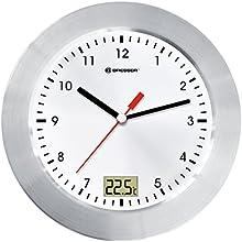 Comprar Bresser 8020112 - Reloj de pared analógico para baño (pantalla con temperatura)