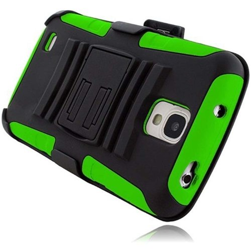 Hr Wireless Active Side Stand Cover With Holster For Samsung Galaxy S4 - Retail Packaging - Black/Neon Green