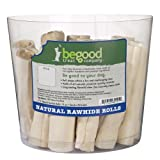 Be Good Treat 4 to 5-Inch Dog Natural Rawhide Roll, 19-Pack