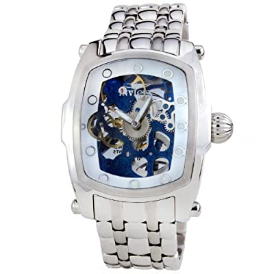Invicta Mens Lupah Collection Mechanical Skeleton Dial Bracelet Watch w/ 2 Leather Straps 1092