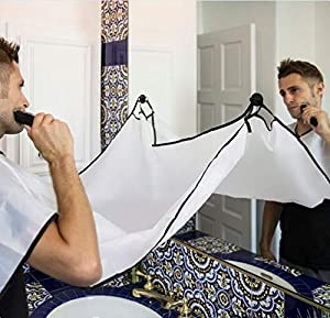 Beard Apron For Man Shaving & Hair Clippings Catcher Grooming Cape Apron Keep Sink Clean White & Black - 2 Pcs