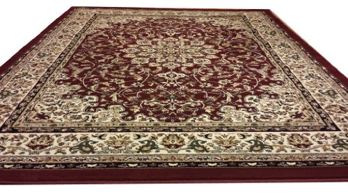 D603 Medallion Traditional Burgundy Red 5x8 Actual Size 5'3x7'2 Rug