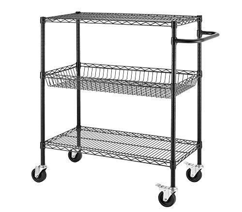 "Excel ESC-361840P NSF Certified Heavy Duty Commercial Grade Wire Shelving Cart, 36 x 18 x 45"", Black"