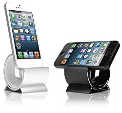 Sinjimoru Aluminum Sync and Charge Dock Stand for Apple iPhone 5, 5c, 5s (Lightening 8 Pin Cable Included)(Silver)